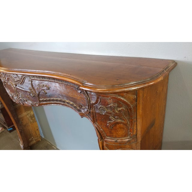 19th Century Hand Carved Walnut Fireplace Mantel - Image 8 of 10
