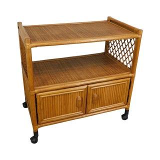 Vintage Rattan Rolling Cabinet Cart For Sale