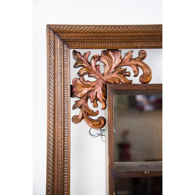 1960s 1960s Victorian Mahogany Decorative Wall Mirror With Shelves For Sale - Image 5 of 9