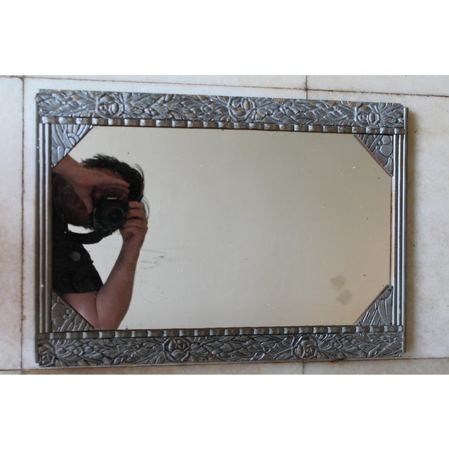 An antique French Art Deco Carved Wood Wall Mirror c.1925. Paris estate item.