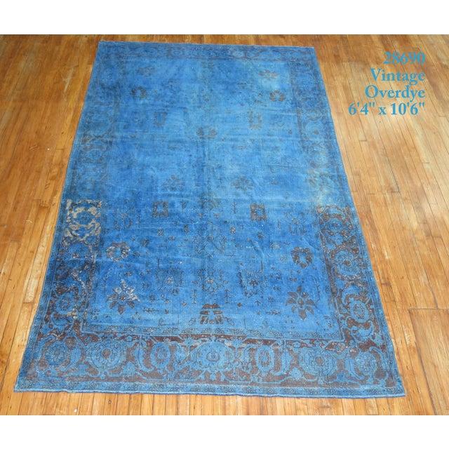 "Cobalt Blue Overdyed Vintage Rug - 6'4"" x 10'6"" For Sale In New York - Image 6 of 10"