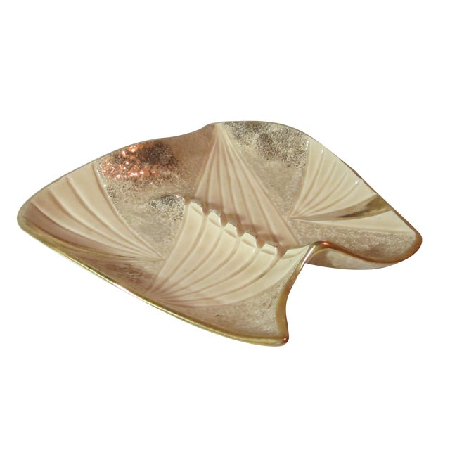 Mid Century Beige and Gold Ashtray - Image 1 of 7