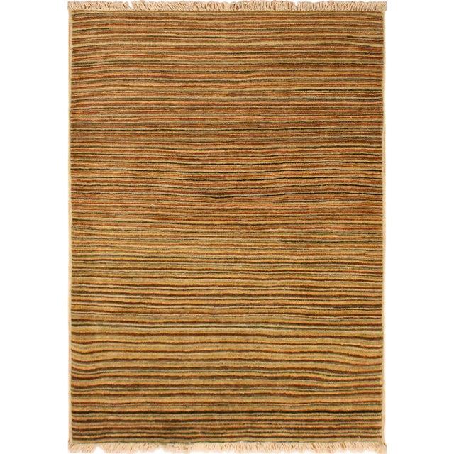 Tan Boho Chic Gabbeh Peshawar Nereida Tan/Rust Hand-Knotted Wool Rug -3'1 X 5'1 For Sale - Image 8 of 8