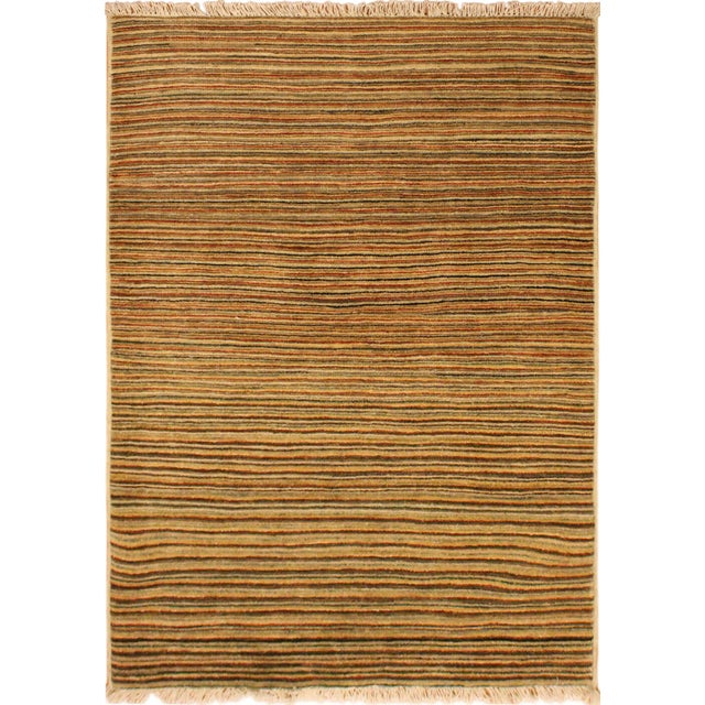 Green Gabbeh Peshawar Nereida Tan/Rust Hand-Knotted Wool Rug -3'1 X 5'1 For Sale - Image 8 of 8