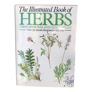 1980s Cottage Illustrated Book of Herbs Coffee Table Book For Sale