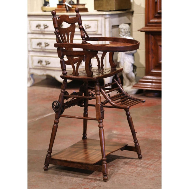 Mid-20th Century French Carved Folding Up and Down Child High Chair on Wheels For Sale In Dallas - Image 6 of 13