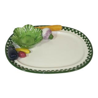 Serving Platter With Applied Vegetables and Bowl For Sale