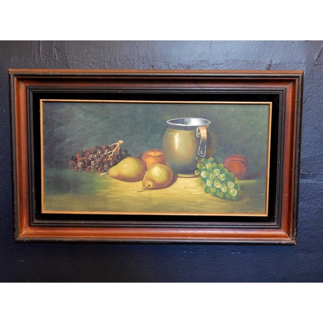 We are in love with this painting! Framed in a wooden frame with golt and black felt border.