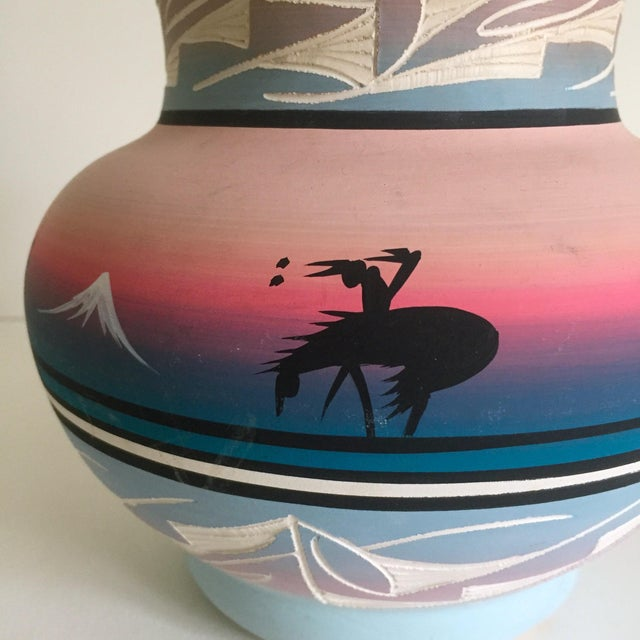 Ceramic Vintage Signed Navajo Native American Pink Mesa Sunset Hand Painted Pottery Vase For Sale - Image 7 of 11