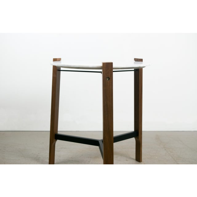 Minimalist Modern Teak and White Marble Side Table - Image 3 of 8