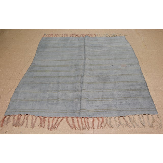 Vintage Turkish Anatolian hand knotted hemp kilim with natural colors and fine weave.