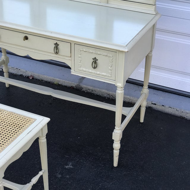 1930s 1930's Adams Style Vanity W/Mirror Cane Bench For Sale - Image 5 of 11