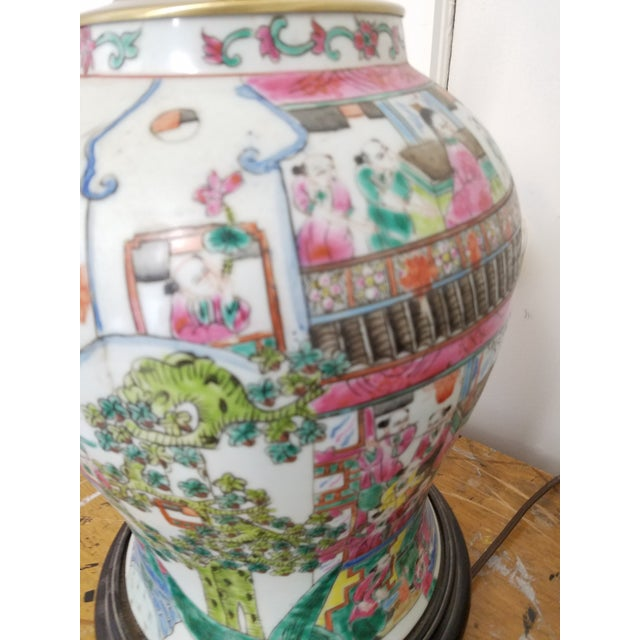Large Chinese Hand Painted Porcelain Temple Jars Mounted Table Lamps - a Pair For Sale In Philadelphia - Image 6 of 7