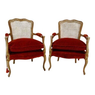 Fratelli Boffi Louis XV French Cane Back & Velvet Bergere Armchairs - A Pair For Sale