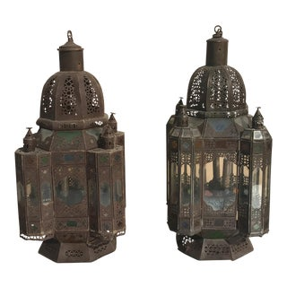 Syrian Tin Lanterns - A Pair For Sale
