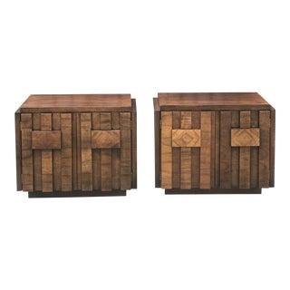 Pair of Brutalist Mid Century Modern Nightstands by Lane For Sale