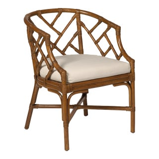 Rattan Chippendale Club Chair, Chestnut For Sale