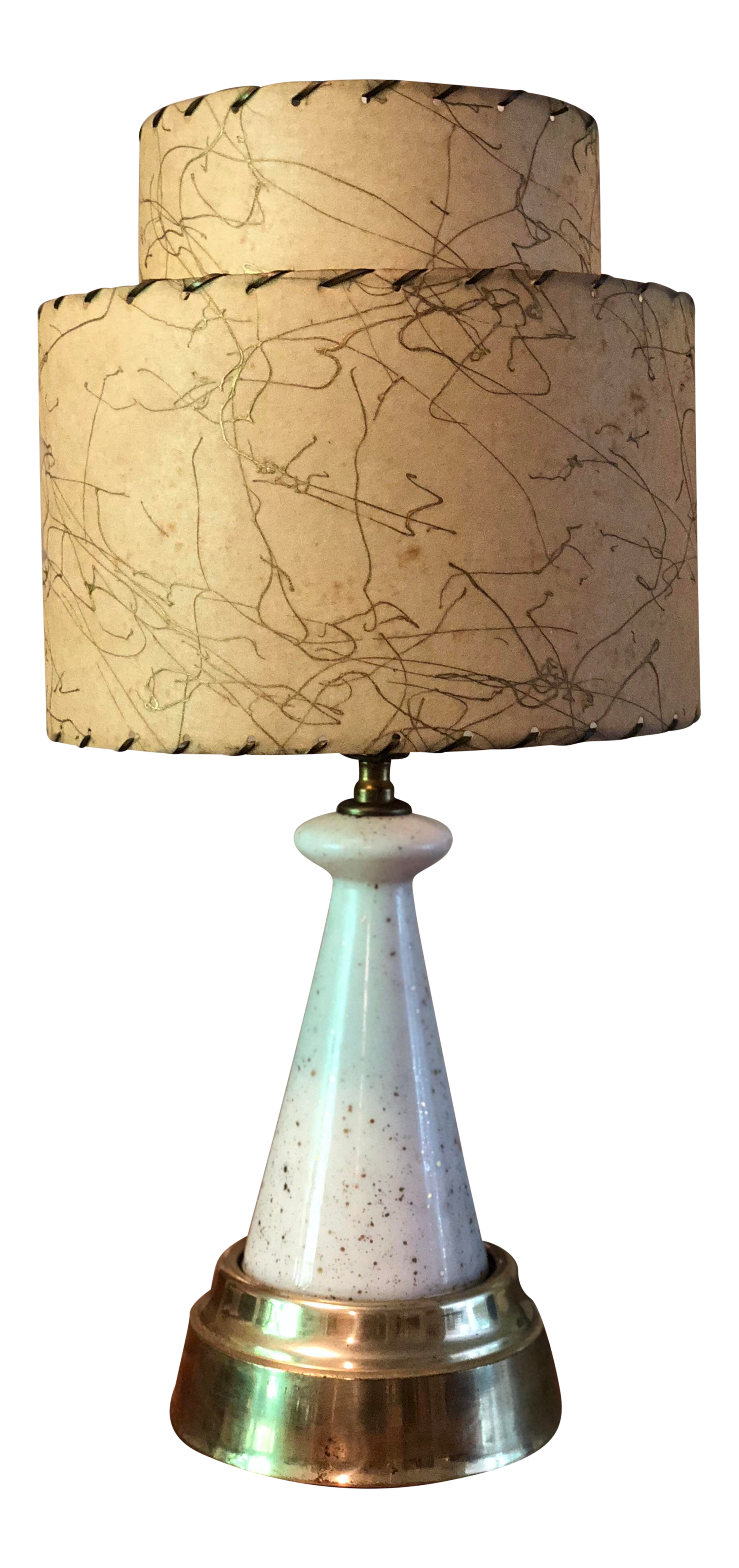1950s Mid Century Table Lamp W Fiberglass Shade Lighted Base Chairish