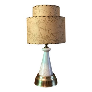 1950s Mid-Century Table Lamp W Fiberglass Shade Lighted Base