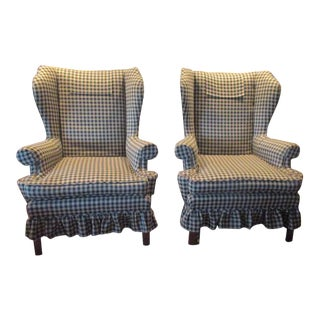 Circa 1900 English Chippendale Wingback Chairs - A Pair