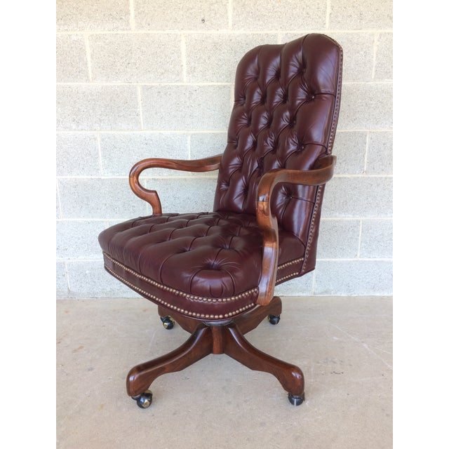 Fantastic Fairfield Burgundy Leather Desk Chair Andrewgaddart Wooden Chair Designs For Living Room Andrewgaddartcom