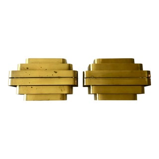 1980's Solid Brass Jules Wabbes Style Sconces/Pair For Sale