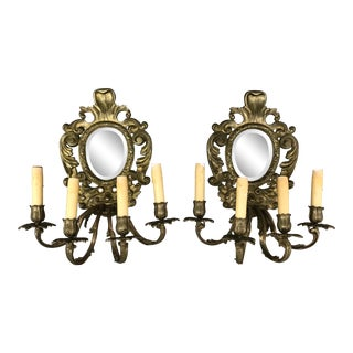 Antique Bronze Baroque Venetian Mirrored Lights Sconces - a Pair For Sale