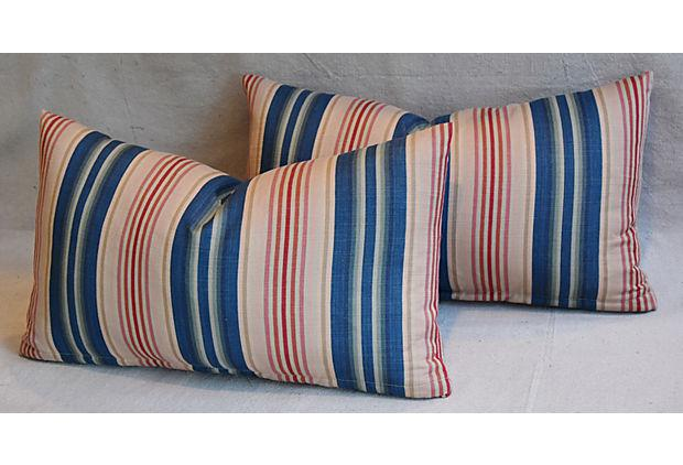 Custom Blue Pink Amp Red Striped Feather Pillows A Pair