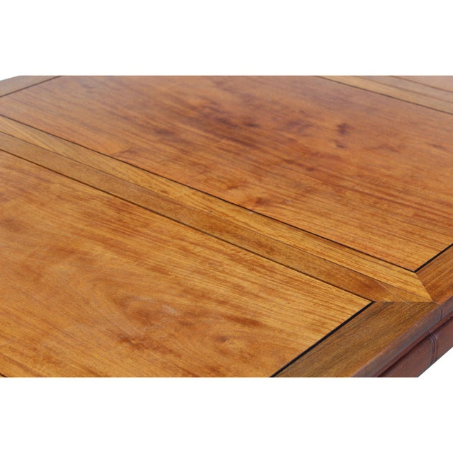 Brown Chinese Oriental Brown Rectangular Writing Desk Dining Table For Sale - Image 8 of 10
