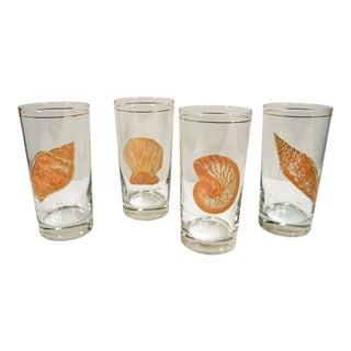 Culver Sea Shell Design Tumbler Ice Tea Glasses - Set of 4 For Sale