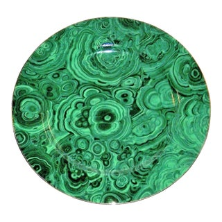 Vintage Neiman Marcus Emerald Green Malachite Serving Plate For Sale