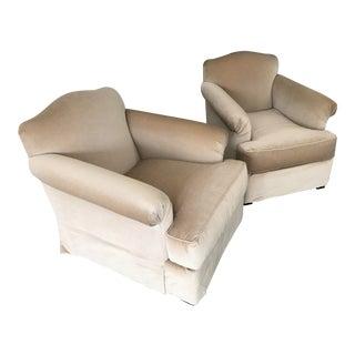 Modern Cream Armchairs- a Pair For Sale
