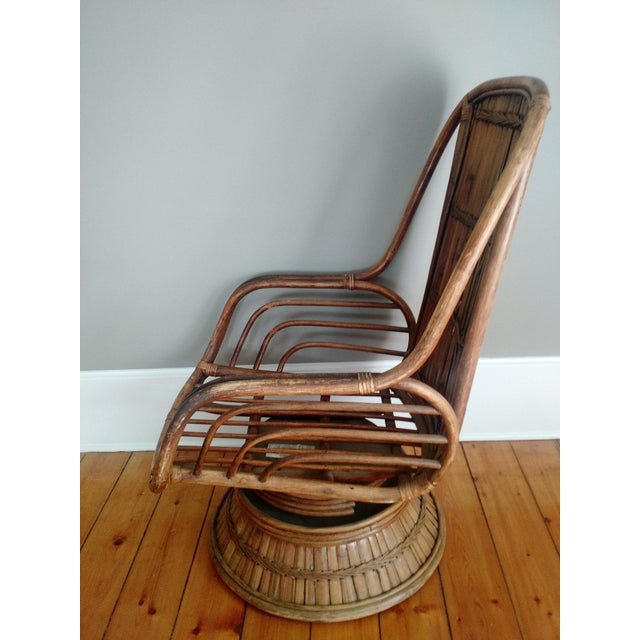 Vintage High-Back Bamboo Lounge Chair - Image 5 of 8