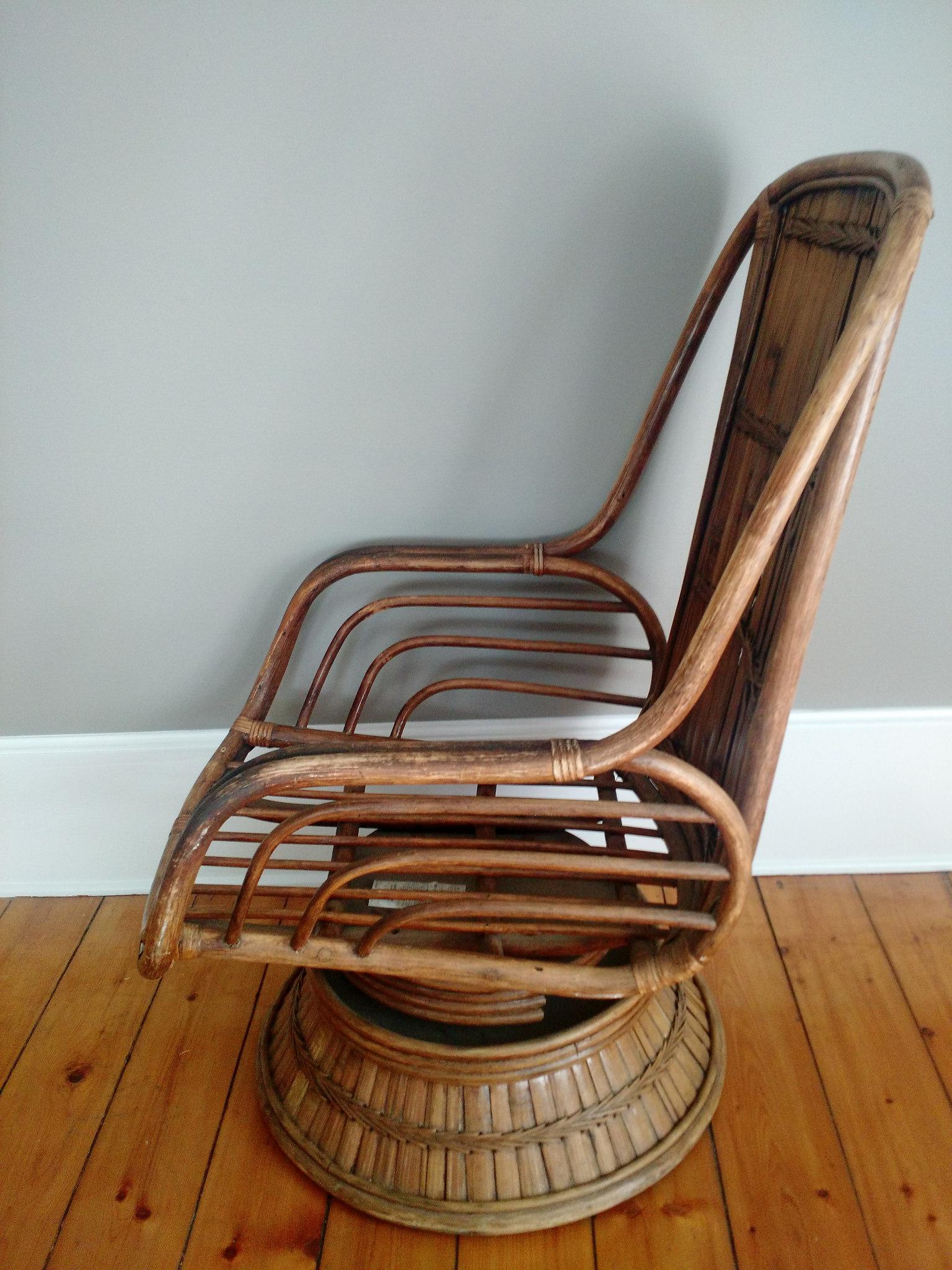 Vintage High Back Bamboo Lounge Chair   Image 5 Of 8