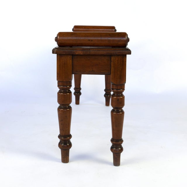 Regency Victorian Mahogany Hall Bench With Carved Bolster Arm-Rests; English, Circa 1870 For Sale - Image 3 of 10