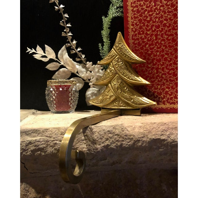 Vintage Antiqued Brass Stocking Hangers Tree & Star - a Pair For Sale - Image 4 of 9