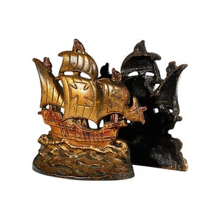 1950s Pirate Ship Bookends, Pair For Sale