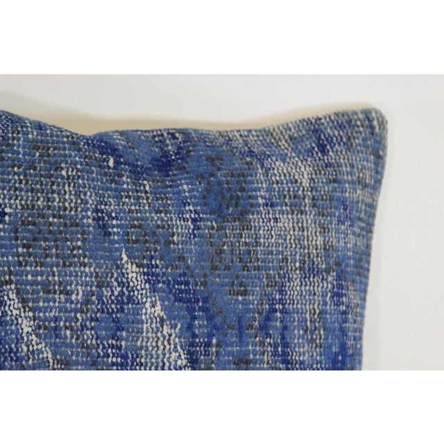 Blue Handmade Over-Dyed Rug Pillow Covers - A Pair - Image 2 of 4