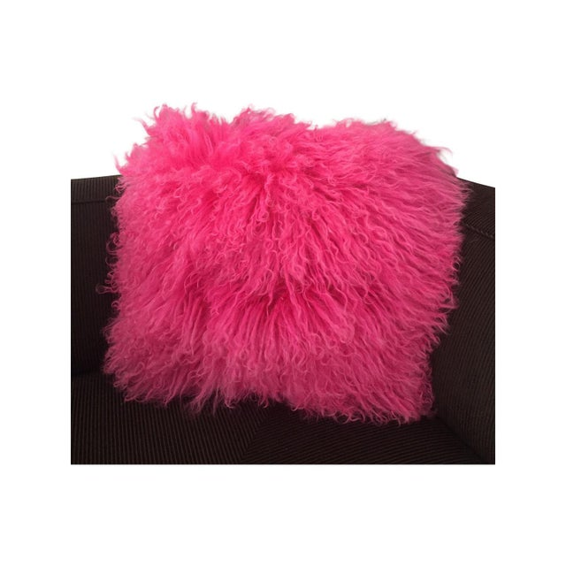 Pink Mongolian Lamb Fur Pillow - Image 2 of 6