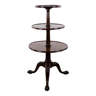 19th Century English Traditional 3-Tier Walnut Dumbwaiter Table
