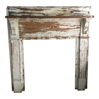 Antique Shabby Chic Wooden Mantel with Shelf For Sale