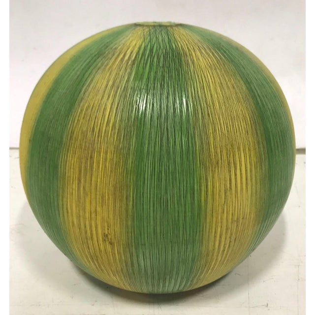 "1940s ""Sgraffito"" Italian Ceramic Watermelon Lamp Base For Sale - Image 5 of 5"