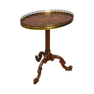 Theodore Alexander Radiating Parquetry Inlaid Mahogany George III Carved Side Table