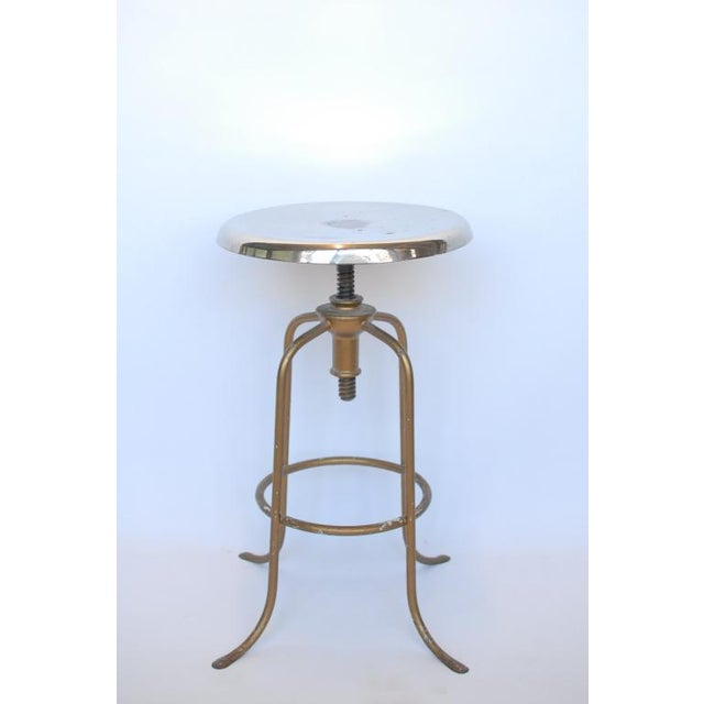 1940's American steel adjustable height stool - Image 3 of 3