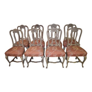 1980s Vintage Tuscan Style Carved Dining Chairs- Set of 8 For Sale