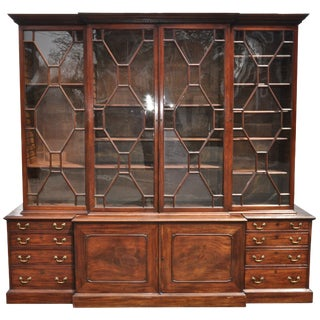 Period 18th Century George III Mahogany Breakfront Bookcase For Sale