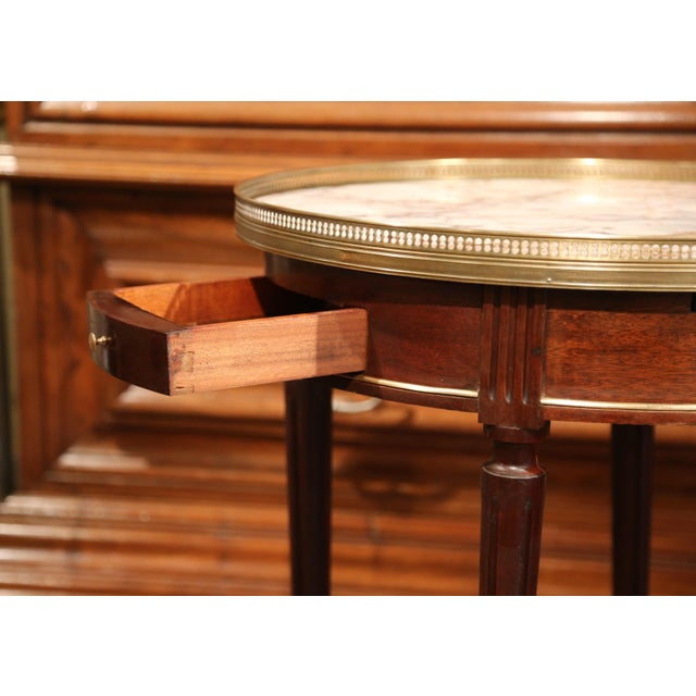 Early 20th Century French Louis XVI Round Bouillotte Table with Marble Top - Image 5 of 10