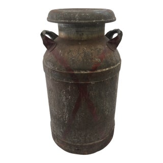Vintage Rustic Steel Milk Can With Lid For Sale
