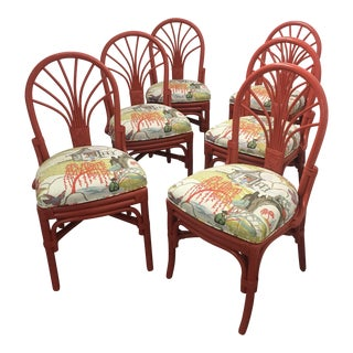 Ficks Reed Robert Allen Neo Toile Fabric Lacquered Chairs - Set of 6 For Sale