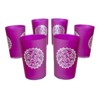 Silver & Pink Luxury Massira Tea Glasses - Set of 6 For Sale